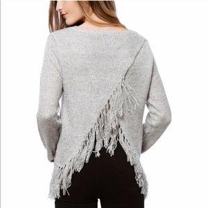 NWT BB Dakota Jeraldine Grey Fringe Sweater